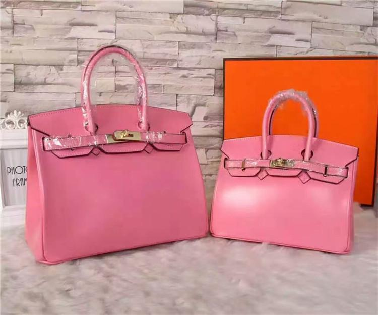 Elegant2019 Woman Genuine Pink Colour Package Box Leather Mirror Dough Single Shoulder Span Handbag Both Shoulders Bring