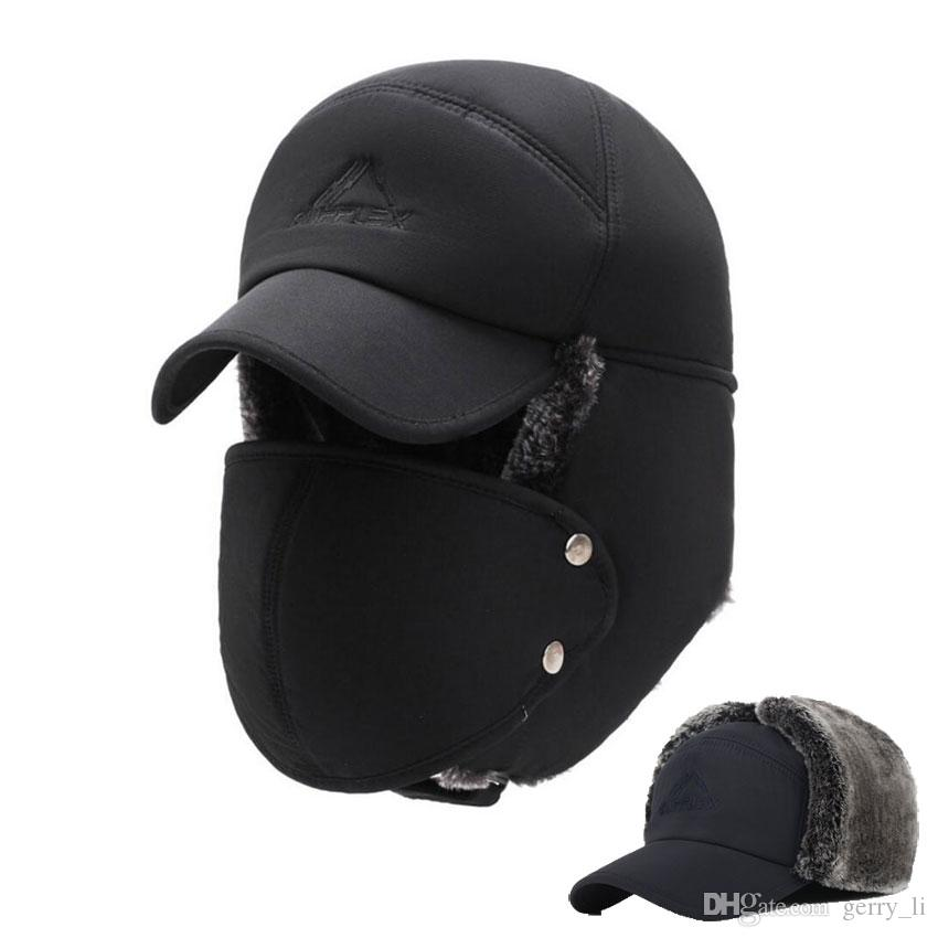 1ad4d5902 Mens Winter Hats Ear Flaps Bomber Hats With Brim And Face Mask Warm Hat For  Men Russian Waterproof Ski Cap Male Accessories 3818-1001