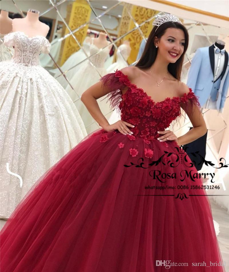 d812432f19 Red Sweet 16 Masquerade Quinceanera Dresses 2019 Ball Gown Off Shoulder  Beaded 3D Floral African Vestidos 15 Anos Plus Size Prom Party Gowns Cheap  ...