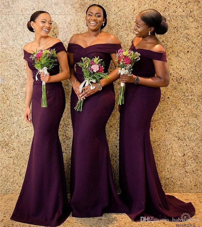 5430685b07b South African Purple Bridesmaids Dresses 2019 Elegant Off Shoulders Long  Wedding Guest Evening Prom Gowns Plus Size Girls Bridesmaids Dresses  Hawaiian ...
