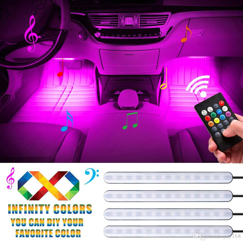 Car LED Strip Light 4Pcs 48 LEDs Multicolor Car Interior Light with Sound Active Function Wireless Remote Control Car Charger(2019 Release))