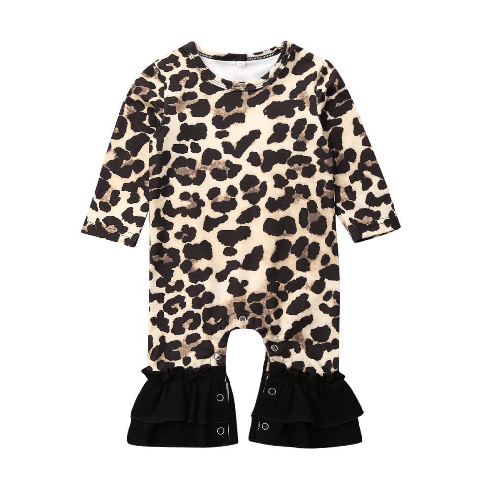 One Piece Ragazza neonato vestiti di autunno Ruffle Leopard maniche lunghe pagliaccetto tuta complesso Outfit