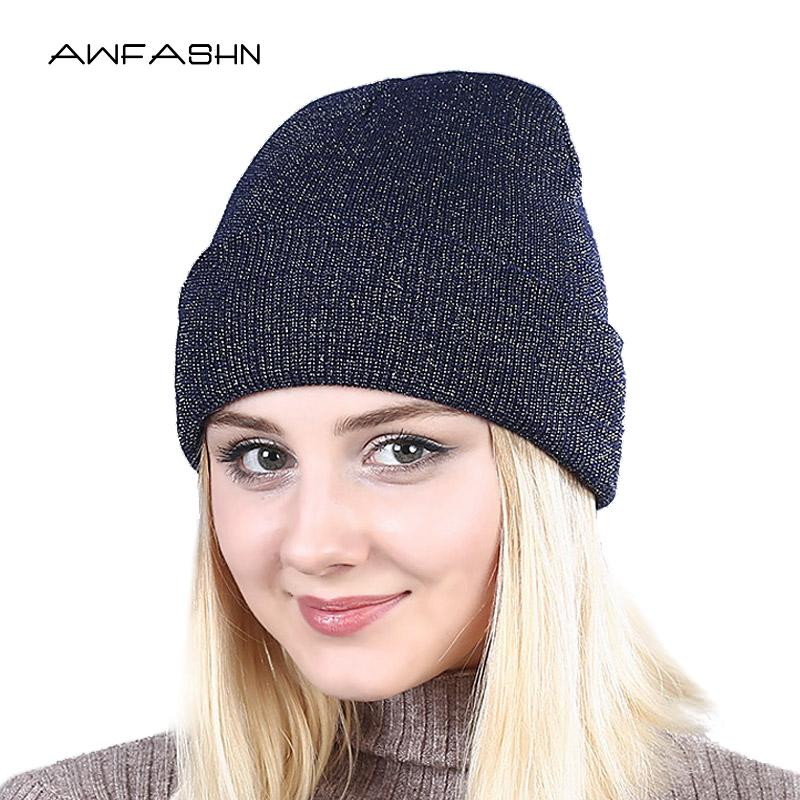 17a6018306 Spring 2019 Shine Lovely Winter Autumn Beanie Hats Women Soft ...