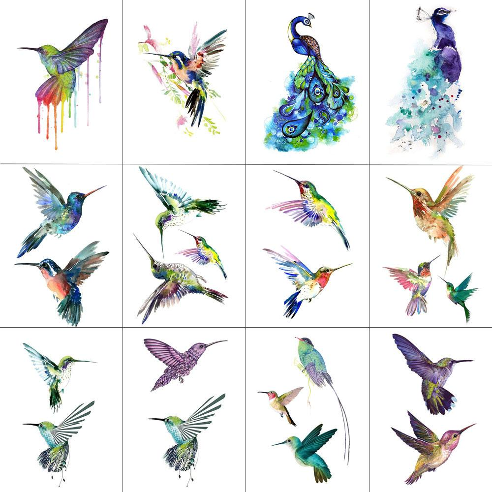 TCOOL 12 PCS Bird Hummingbird Temporary Tattoo Sticker for Women Men Body Art Adults Waterproof Hand Fake Tatoo 9.8X6cm W12-13