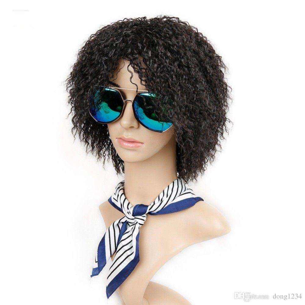 Kinky Curly Wig Short Afro Fake Hair For Ladies High Temperature Synthetic  Fiber Afro Wig Styling Synthetic Wigs From Dong1234 f556f13a556a