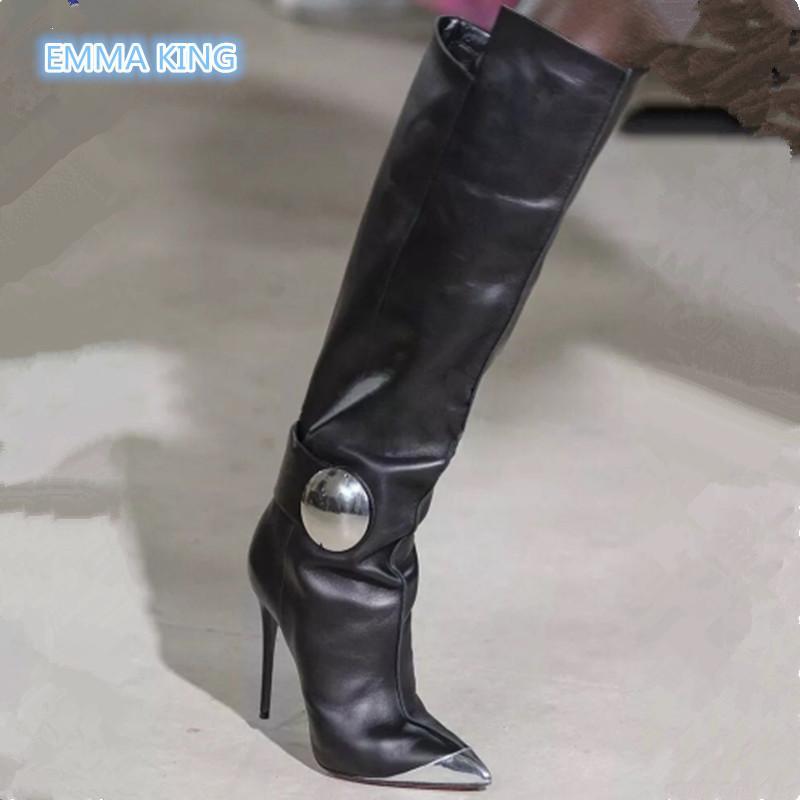 109f768a3d Compre Invierno Negro Rodilla De Cuero Botas Altas Para Mujer Metal Punta  Estrecha Diseño Moda Zapatos De Tacón Alto Mujer Botas Mujer Invierno A   137.5 Del ...