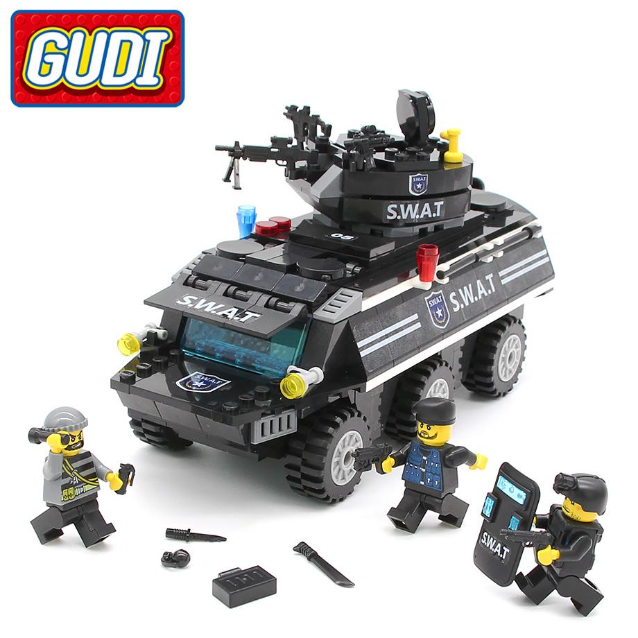 ducational toys for children GUDI SWAT Armored Vehicles Blocks 349pc Bricks Building Block Sets Model Educational Toys For Children Compa...