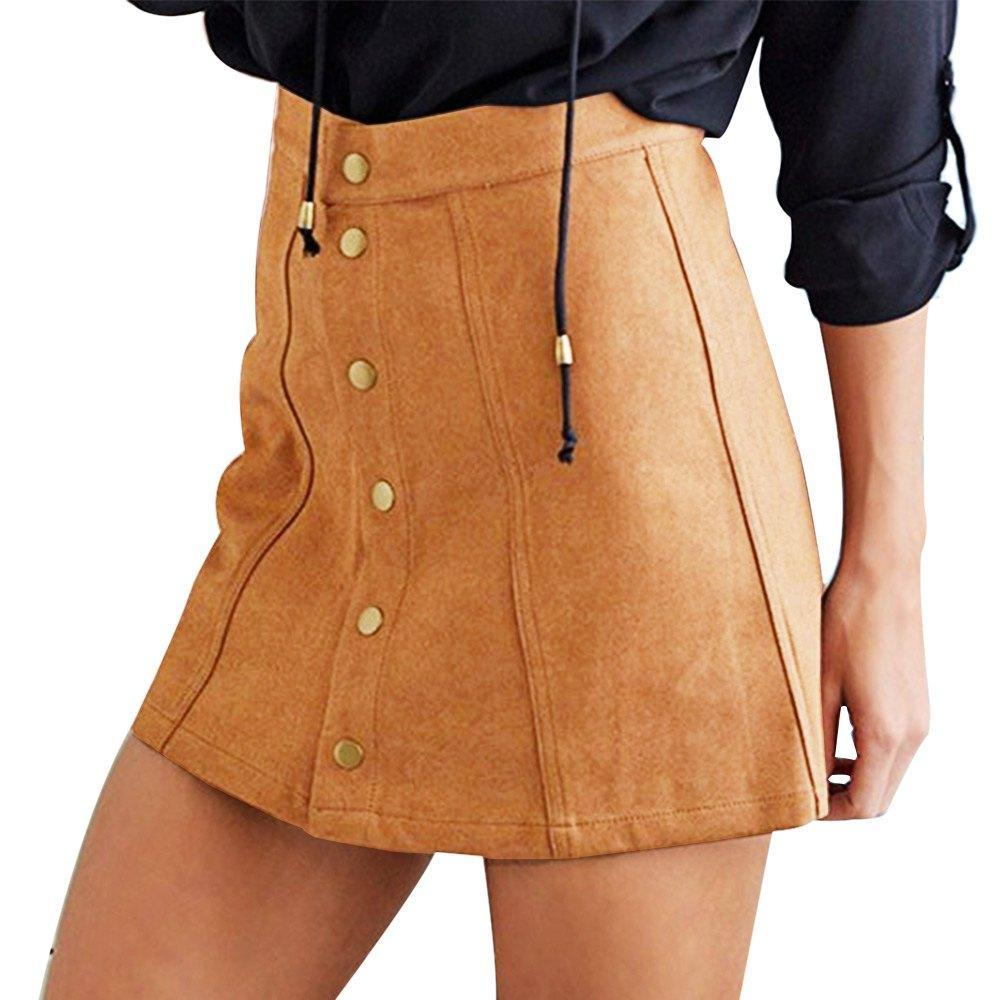 38c51c72cb Compre Mujeres Calientes Faldas Sexy Faux Suede Falda A Line De Cintura  Alta Bodycon Button Short Saia Femininas Mini Faldas Femeninas A  23.28 Del  Nihaode ...