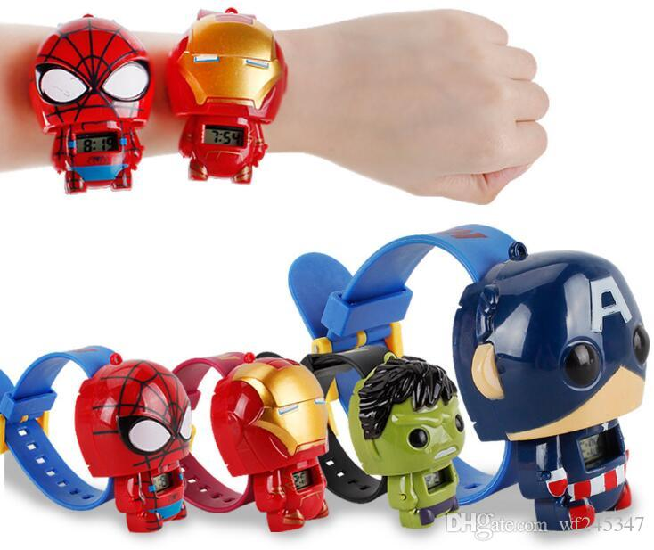 Marvel's The Avengers Kids Toy Watch Iron Man Green Giant Spider-Man Captain America Transformer Children Superhero cartoon watch toys