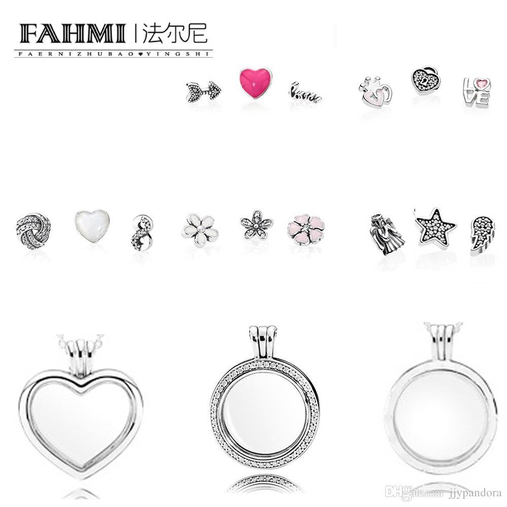 FAHMI 100% 925 Sterling Silver Charm Magic Box Earrings Ring Necklace Heart Shape Five-Pointed Star Exquisite Fashion Ladies Jewelry