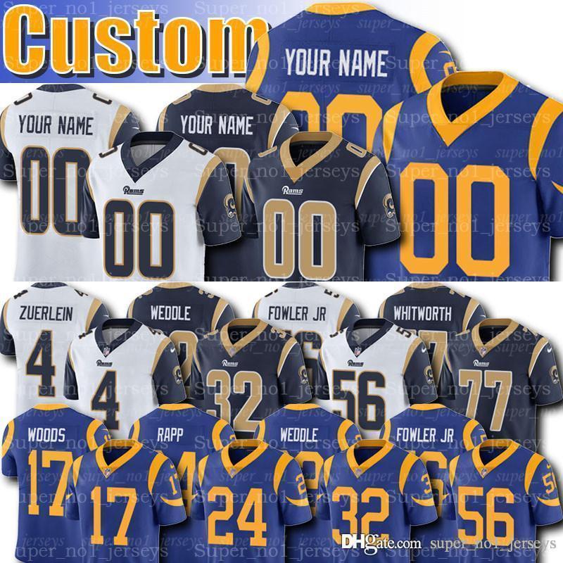 buy online b6805 cb419 Custom Los Angeles Jerseys Rams 18 Cooper Kupp Jersey 17 Robert Woods  Jerseys Eric Weddle Brandin Cooks Blake Bortles Greg Zuerlein