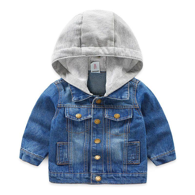 259cf323a17b Kids Denim Jacket 2019 Autumn Casual Girls Boys Solid Hooded ...