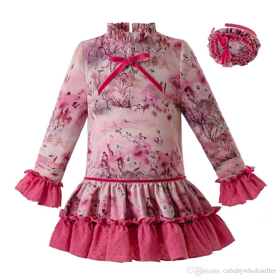 1d9d5cc58 2019 Pettigirl Spanish Aumtum And Winter Flower Kids Designer Clothes Girls  Long Sleeves Wedding Girls Dresses With Headwear G DMGD106 B341 From ...
