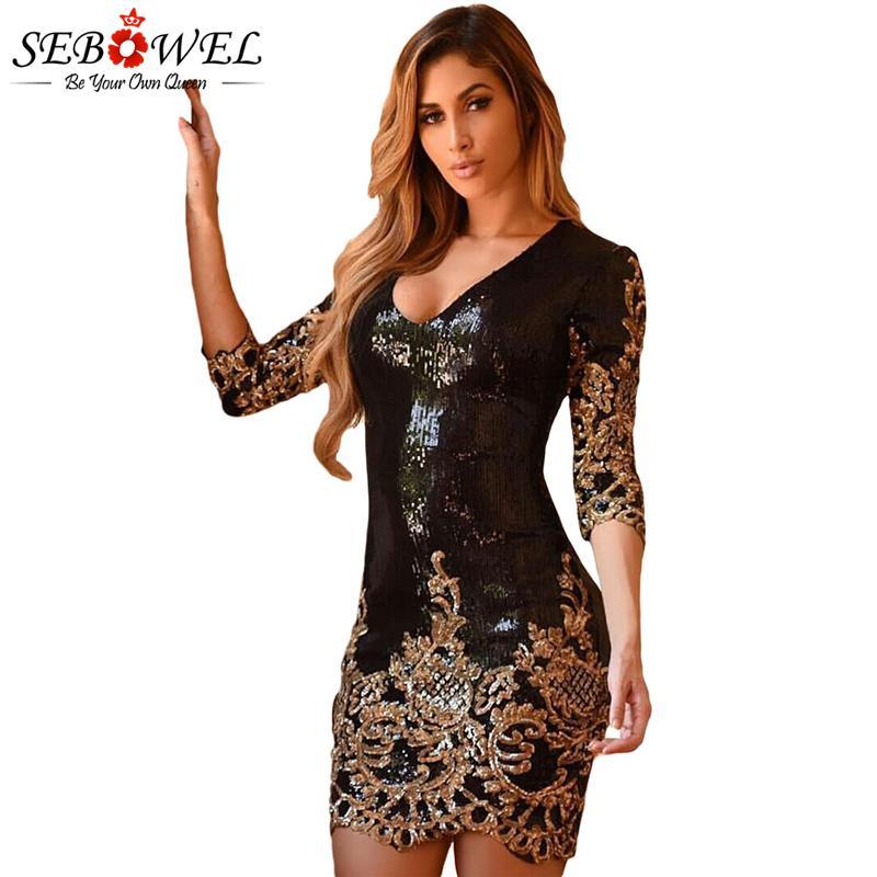 00567918f Compre Venta Al Por Mayor Mujeres Vestido De Fiesta Bodycon De Lentejuelas  De Oro Negro Sexy Glitter Club Vestido De Oro Mini Lápiz Vestido Vestido De  Festa ...