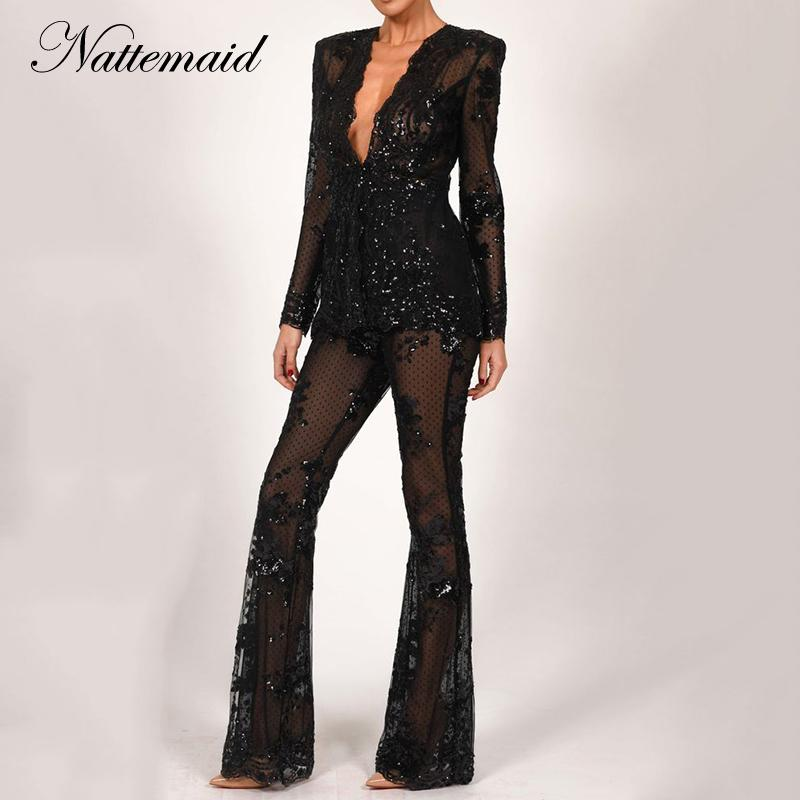 Nattemaid Hollow Out Winter 2 Women Deep V Neck Top And Pants Office Lady Sequin Sexy Two Piece Set Q190522