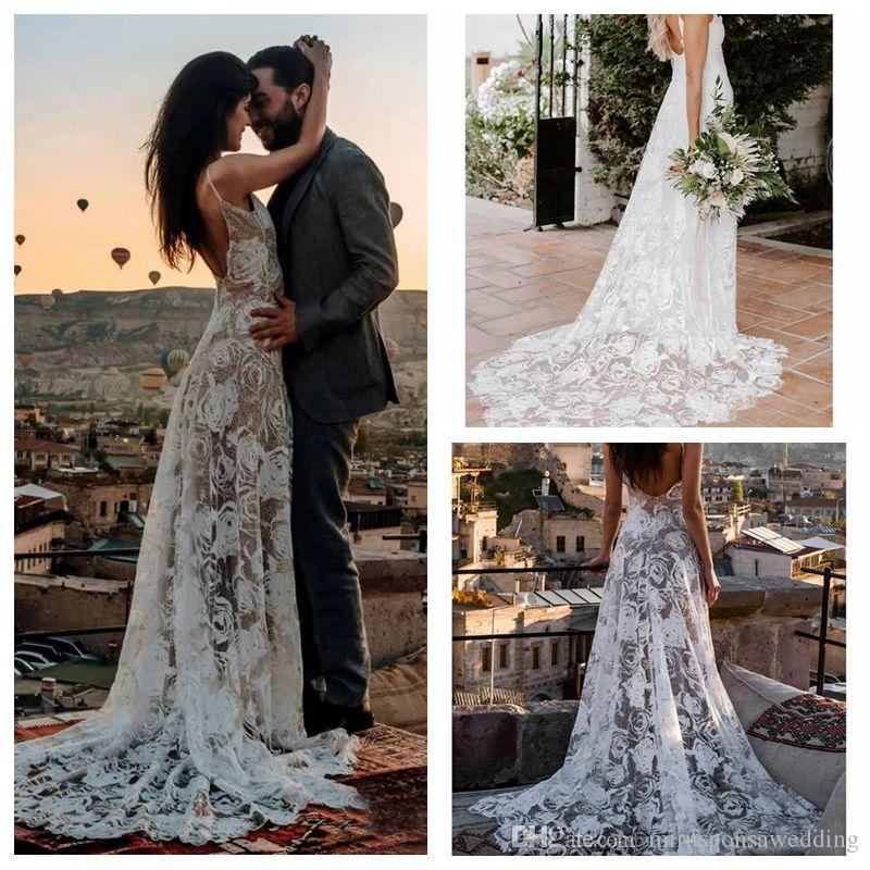Stunning Thin Straps White Rose Pattern Lace Wedding Dress Sheath Sweep Train Bridal Party Dresses Low V Back Unique Wedding Gowns