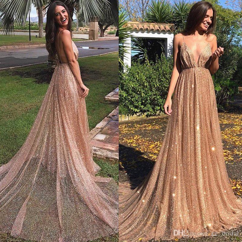 4a955884 Shining Sequined A Line Prom Dresses 2019 Sexy Backless Deep V Neck Dress  Evening Wear Formal Floor Length Vestido De Festa Cheap Hot Sale Elegant  Gowns ...