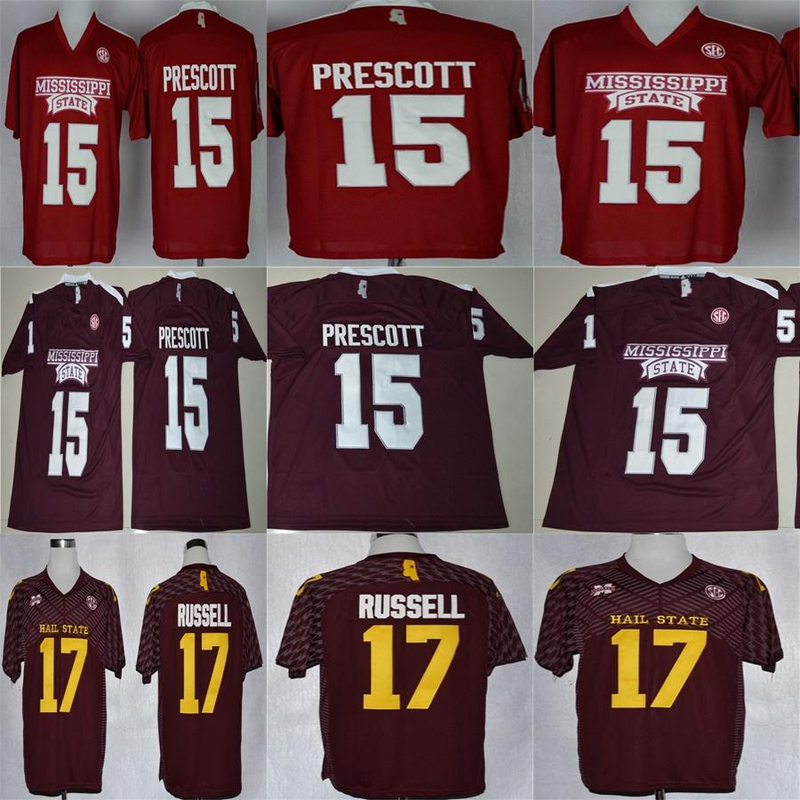 huge selection of 2503f d868a Cheap 2017 Mississippi State Bulldogs 15 Dak Prescott 17 Tyler Russell  Elite Mens College jersey Embroidery Outdoor Apparel jerseys