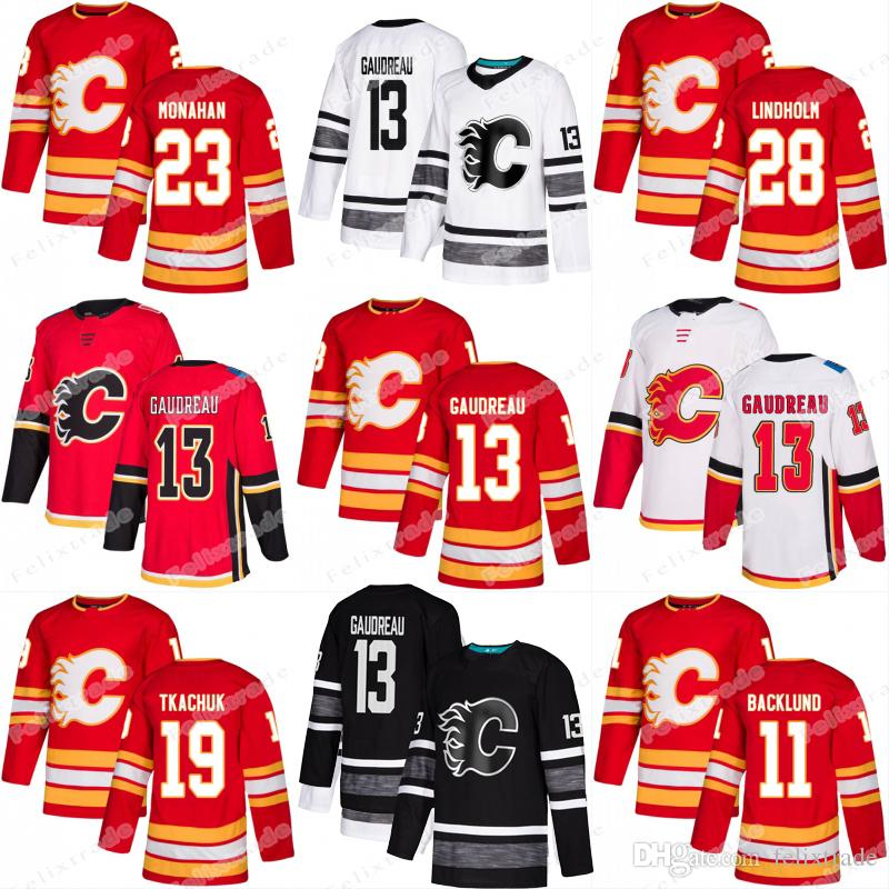 superior quality 0e2f1 783bd Elias Lindholm Calgary Flames Jersey Johnny Gaudreau Sean Monahan Sam  Bennett Matthew Tkachuk Mark Giordano Mikael Backlund Michael Frolik