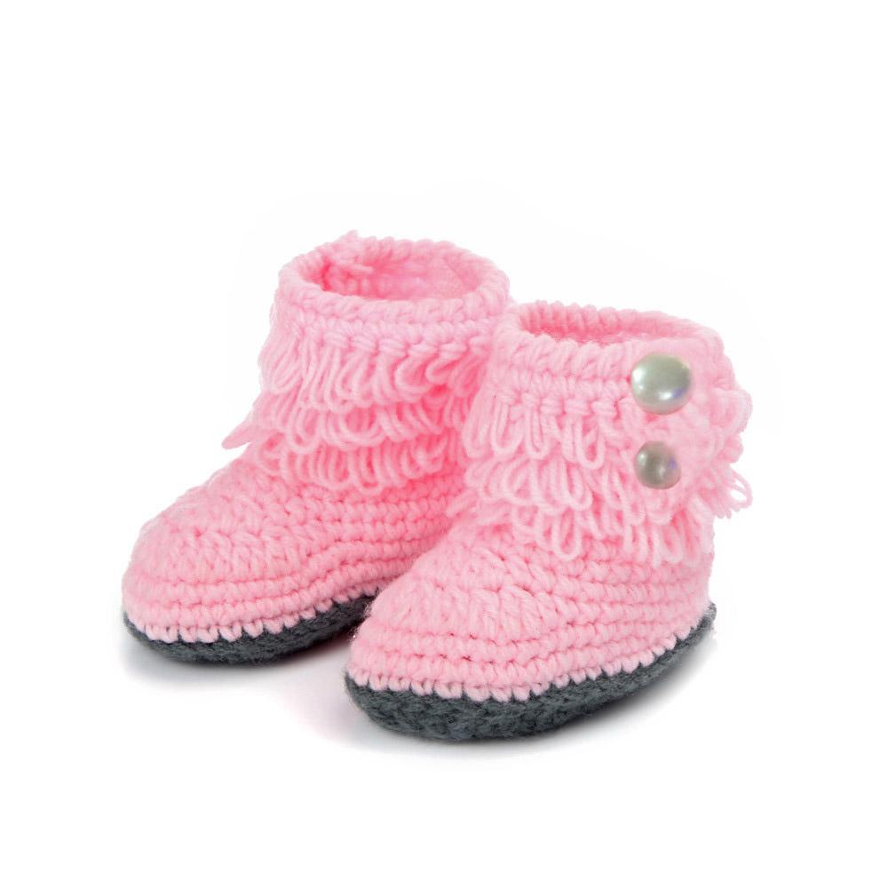 Baby Shoes Girl Boy Soft Cololrful Crochet Handmade Knit High-top Tall Boots 2018 kids Woolen flower quality Shoes