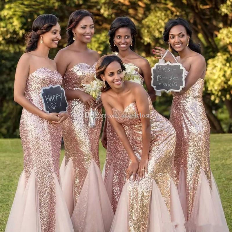 2019 Africano Lungo Sparkly Mermaid Abiti Da Damigella D'onore Paillettes Sweetheart Piano Lunghezza Wedding Guest Party Abiti Per Le Ragazze Nere Custom Made