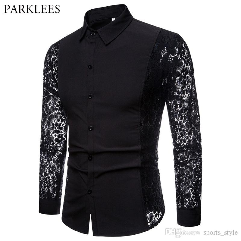 737dedf4ad4 Black Lace Shirt Men 2018 Autumn New Slim Fit Long Sleeve Mens Dress Shirts  Nightclub Prom Marriage Shirt Camisas Masculina XXL #452880
