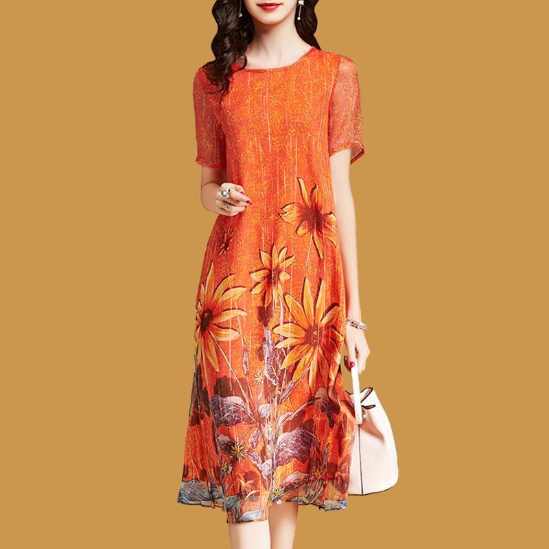 Elegant Floral Dress For Woman Loose Short Sleeve Vestido Mujer 2019 Casual Mid Calf Faux Silk Dresses Plus Size Orange Sundress