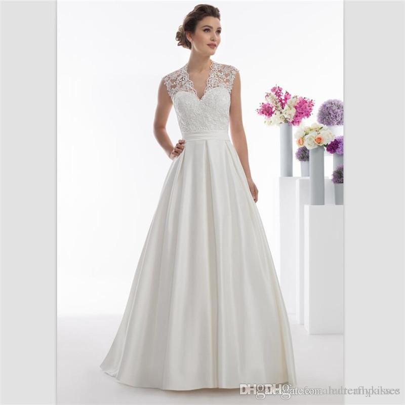 2018 Sexy Backless White Satin A Line Abiti da sposa Cina Ivory Lace Abiti da sposa Custom Sweep Train Garden Abiti da sposa con cintura