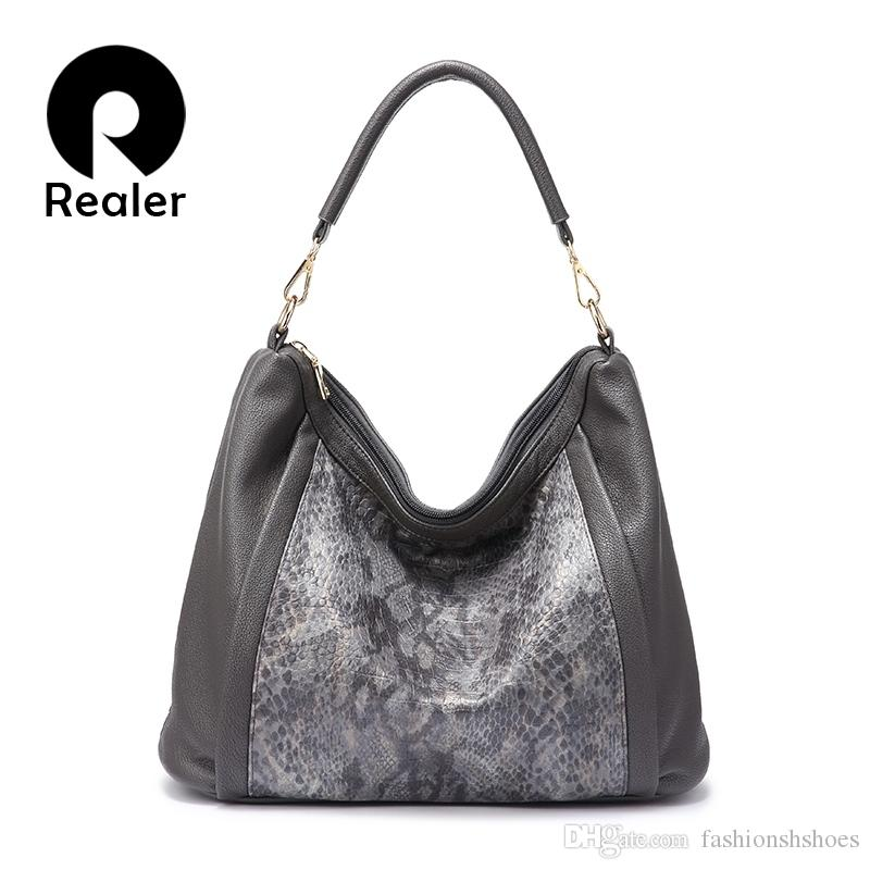 75812a57324f REALER 2018 Women Shoulder Bag New Designs Female Handbags Large Capacity  High Quality Beautiful Colors #281828 Leather Satchel Ladies Bags From ...