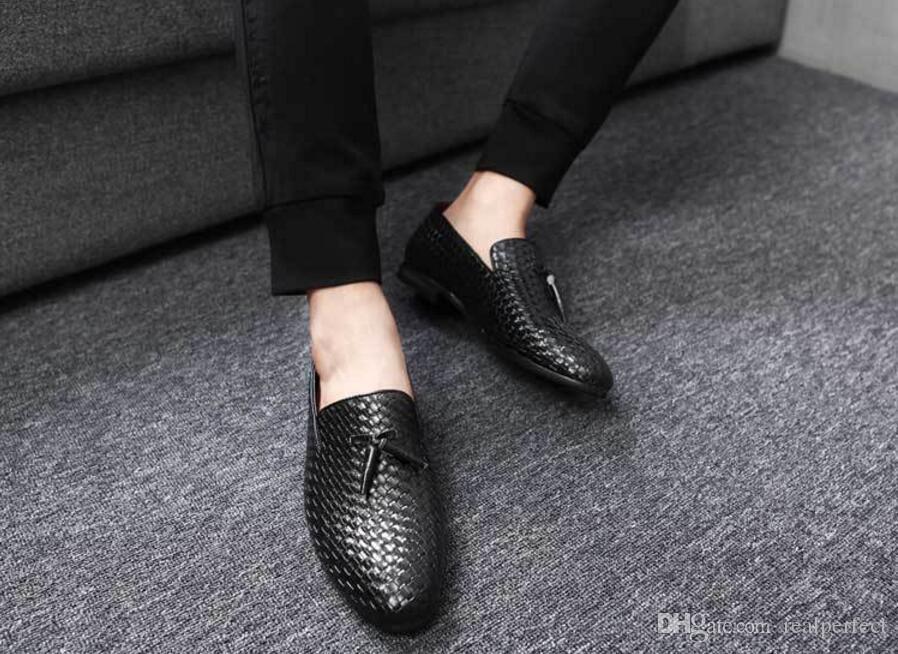 c9b8cbb9d90968 Acheter Chaussures Italiennes Élégantes De La Mode Italienne Pour Chaussures  Pour Hommes Tissage De Grandes Tailles, Chaussures Formelles En Cuir,  Hommes, ...