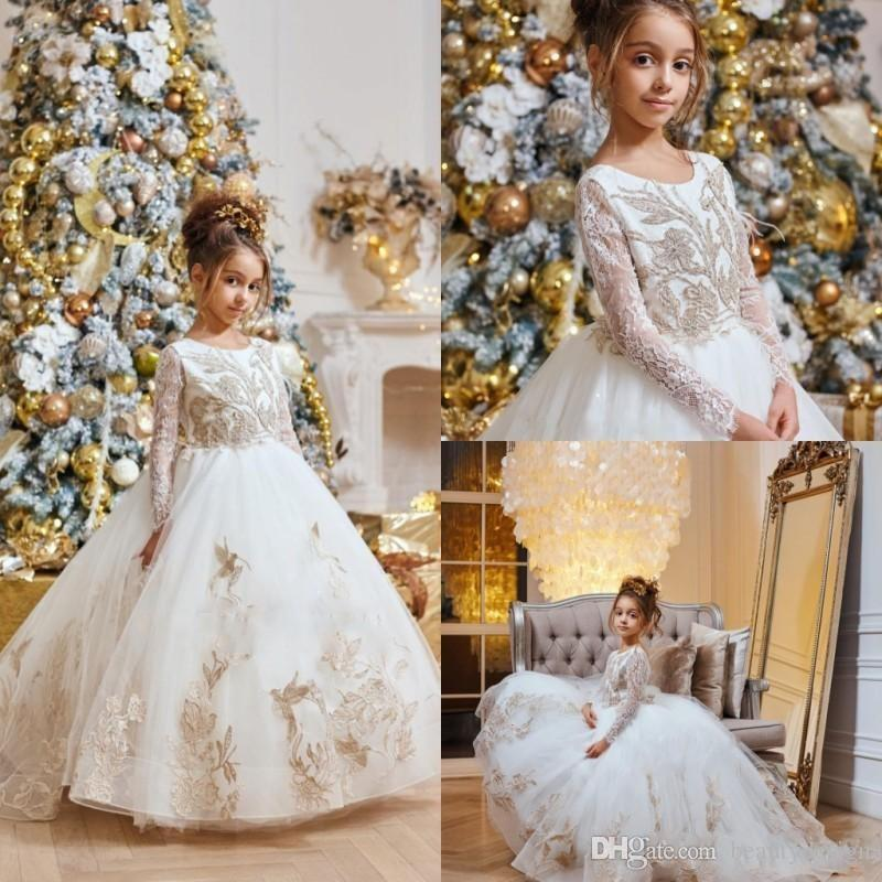 2019 White Flower Girl Dresses For Wedding Lace Appliques Jewel Neck Long Sleeves Cute Girls Pageant Dress Princess Kids Communion Gown