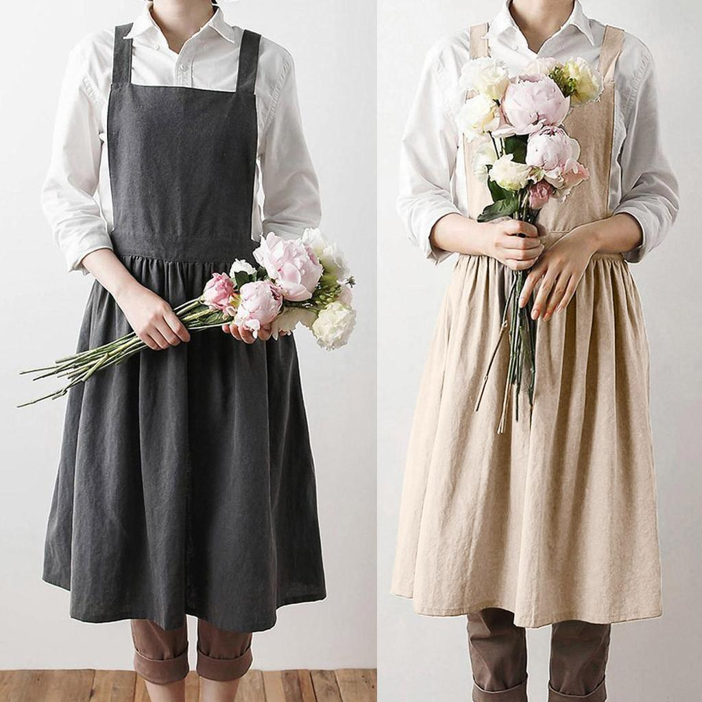 97c67228d8 Female Casual Loose Ladies Dresses Women Linen Sleeveless Home Cooking  Florist Cute Bib Apron Pinafore Solid Dress For Girls White Cocktail Dress  Ladies ...