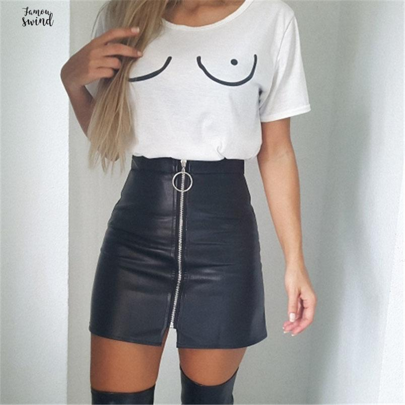 High Faux Leather Skirt A Line Sexy Mini Short Bodycon Pencil Skirts 2019 Spring Front Zipper Pu A Line Skirt