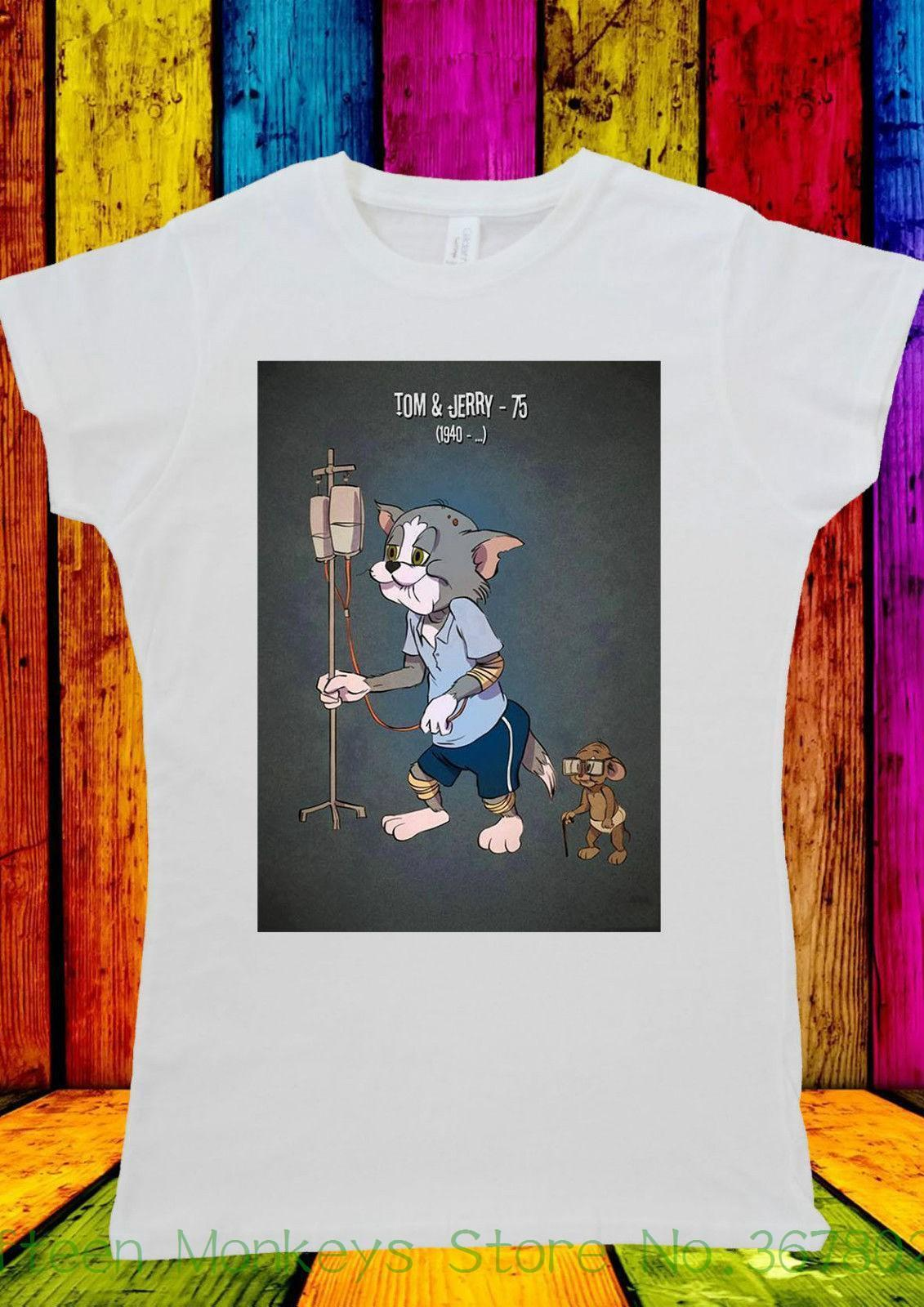 4acf66db Women's Tee Tom And Jerry Elderly Hospital Old T-shirt Men Women Unisex 486  Funny Woman T Shirt