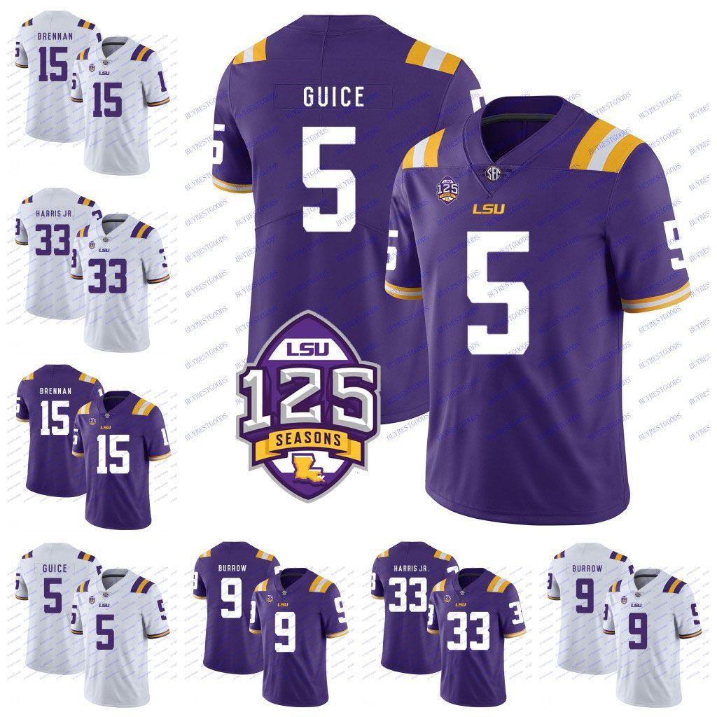 online store 39cd3 e5ebd Custom NCAA LSU Tigers 5 Derrius Guice 49 Arden Key 15 Myles Brennan 29  Greedy Williams 40 Devin White 125th College Football Jerseys