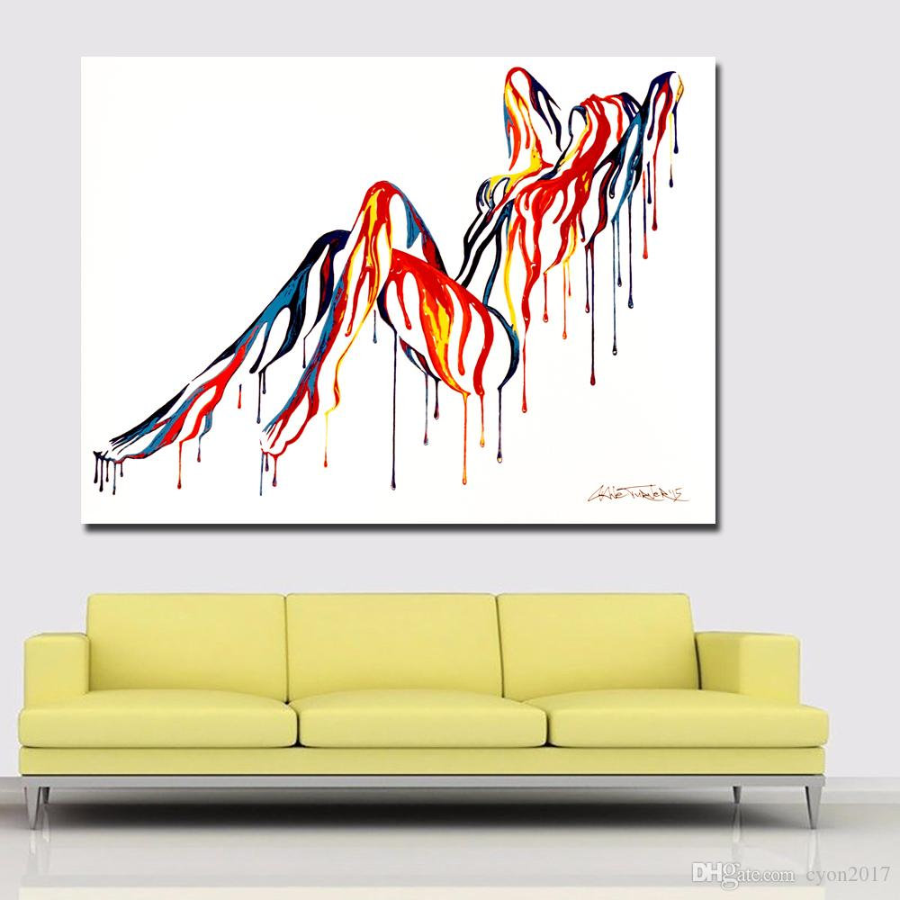 SELFLESSLY Pop Art Colorful Abstract Sexy Girl Nude Art Canvas Painting Wall Art Picture for Living Room Wall Poster Print