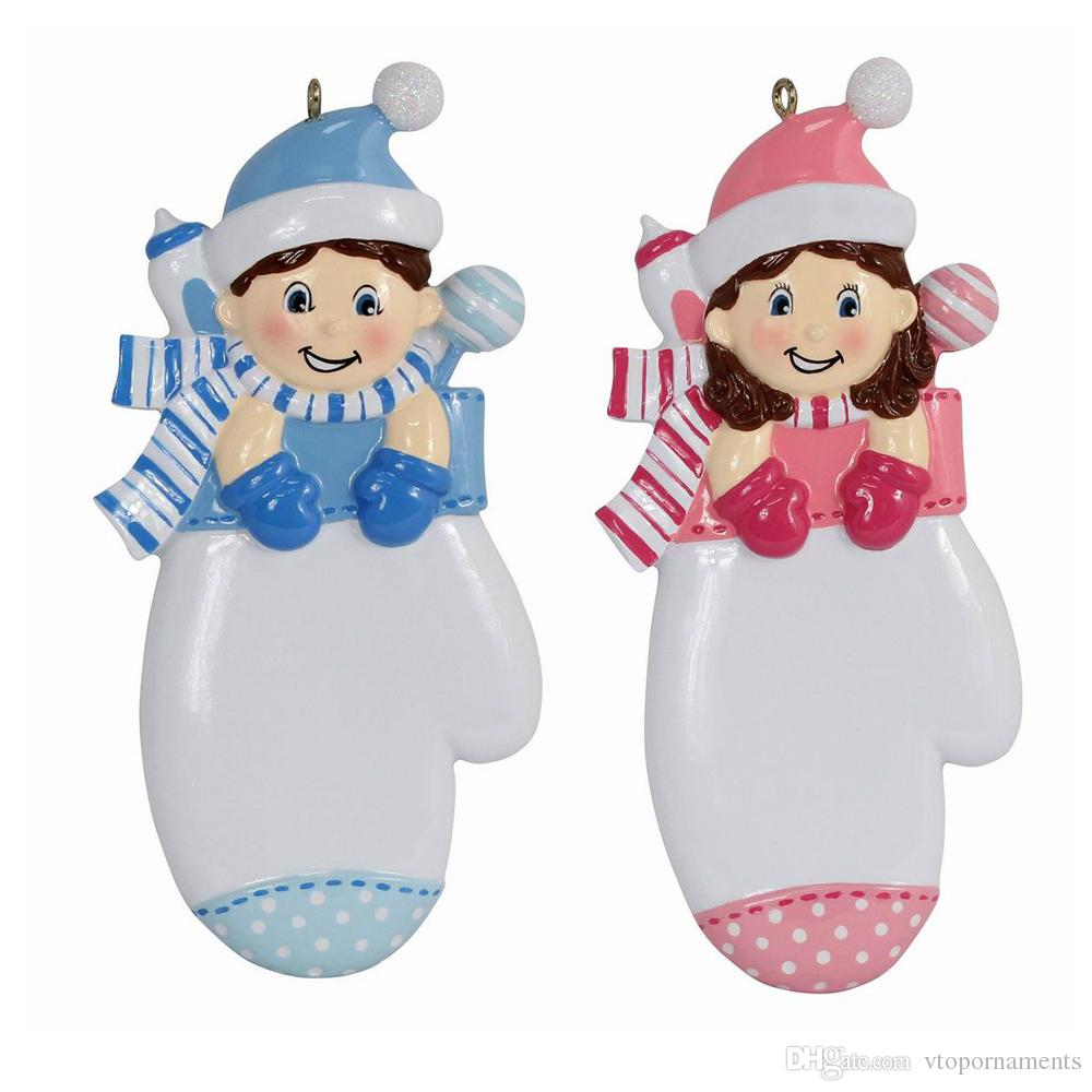 2019 Maxora Personalized Baby Boy Girl Mitten Christmas Ornaments