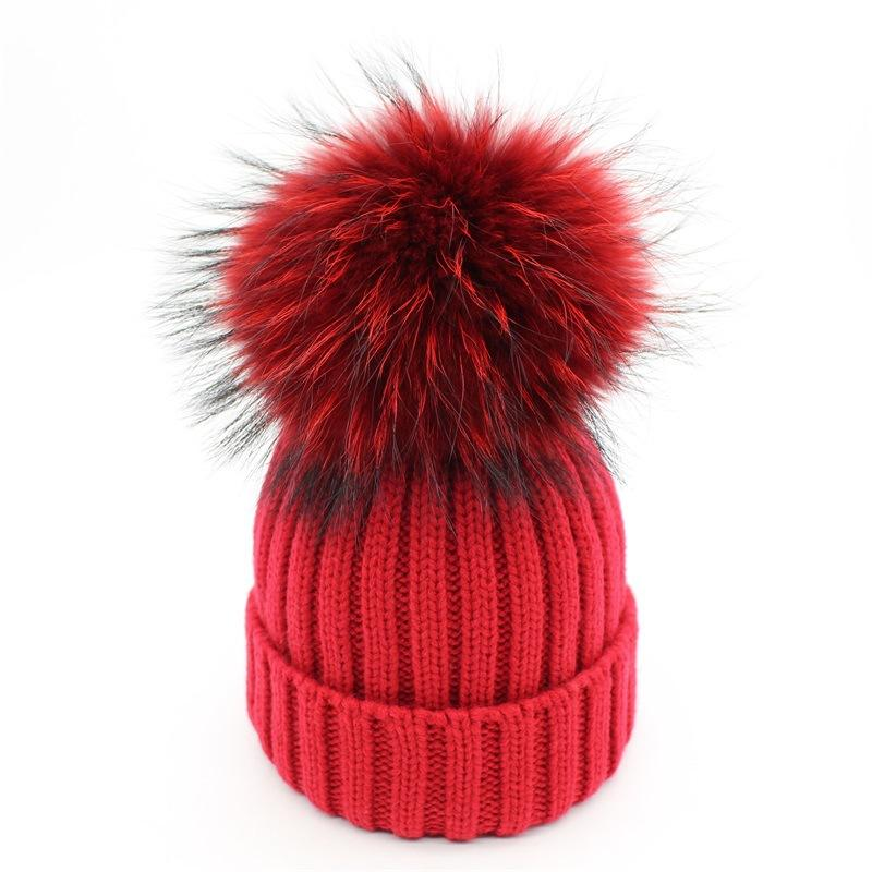 Colorful Faux Raccoon Fur Pom Poms Hats Knitted Warm Skullies Beanies Caps  For Women Girls Kids Winter Ski Hats Bonnet Black Red Knitted Hats Knit Cap  From ... a6eac893331