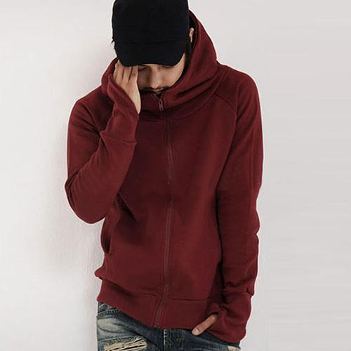 Cool Men Winter Warm Solid Color Gloves Sleeve Hooded Sweatshirt Outwear Jacket hot
