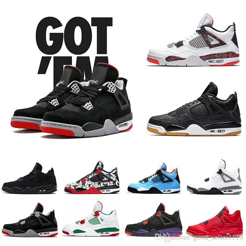 5b189401e6a9 2019 Newest Bred 4 IV 4s Tattoo Men Basketball Shoes Fire Red White Black  Cactus Jack Travis Pizzeria Lightning Mens Sports Sneakers 8 13 Boys  Basketball ...