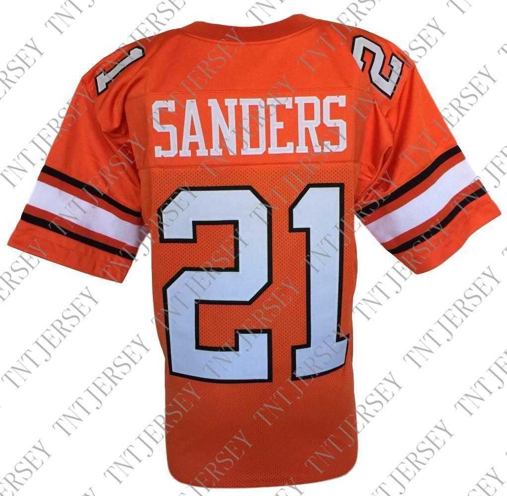 82e8a5d24f6 Cheap Custom Barry Sanders Orange College Style Football Jersey ...