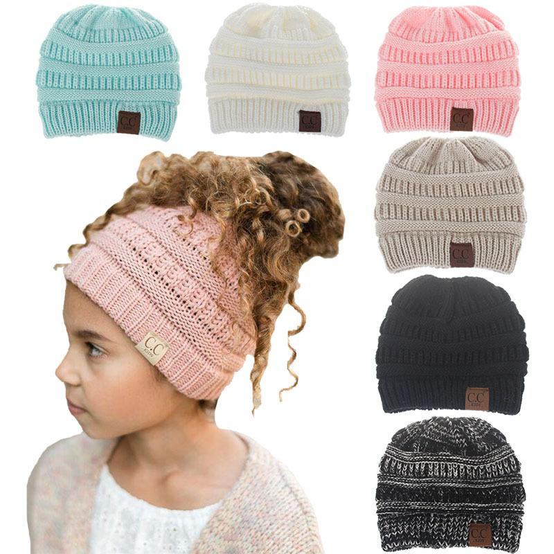 Großhandel Kinder Winter Gestrickt Warm Häkeln Label Beanie Skull