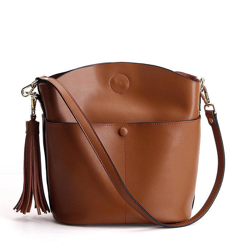Brand Genuine Leather Bag Women Tassel Bucket Fashion Women Shoulder Bag  Ladies Messenger Bag For Women Leather Bags For Women Womens Bags From  Keeping03 11cd8d3cb