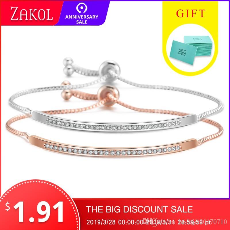 ZAKOL Top Bracelet Bangle para As Mulheres Captivate Slider Bar Brilhante CZ Rose Gold Cor Jóias Pulseira Feminia FSBP2021