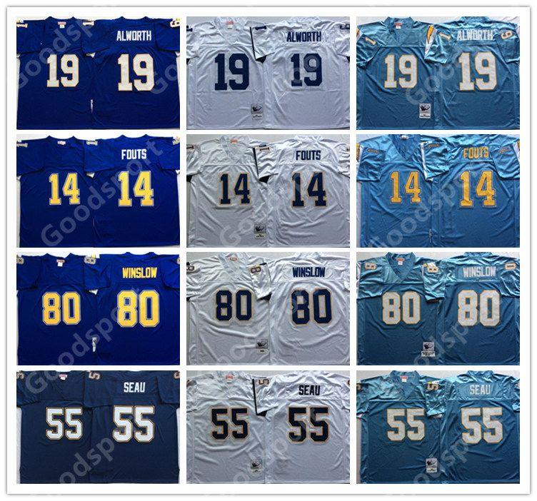 finest selection bb506 f22e5 RETRO San Diego jerseys Charger 55 Junior Seau Football Jersey Stitched  blue 14 Dan Fouts 19 Lance Alworth 80 Kellen Winslow FOOTBALL