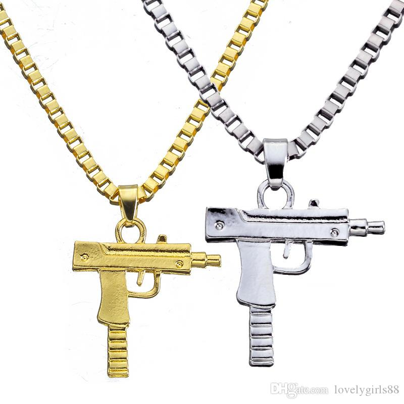Hip Hop UZI Gun Shape Pistol Pendant Necklace Golden Silver Plated Engraved Charming Choker Chain Men Women Fashion Jewelry Gifts
