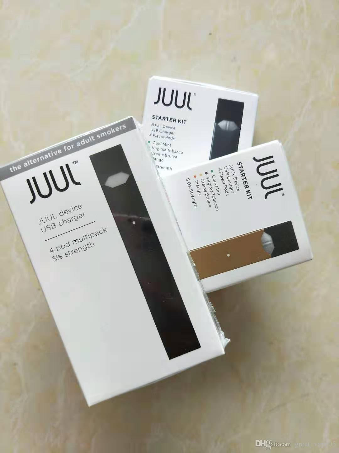 2020 CHEAPEST Juul Starter Kit With 4 Pods USB Rechargeable Juul With 4  Pods Vaporizer Juul Vapor Free DHL Shipping
