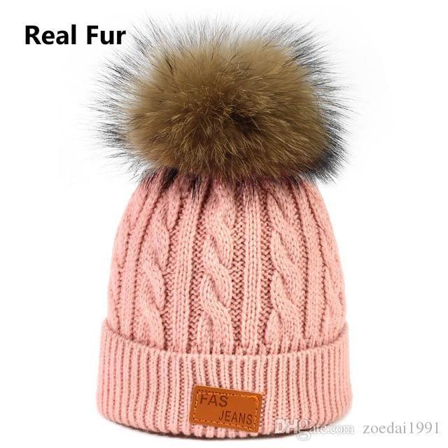 fd6b6fe1985038 New children's fur hats baby boys girls winter ball knitting raccoon fur ball  caps winter beanies 8 colors