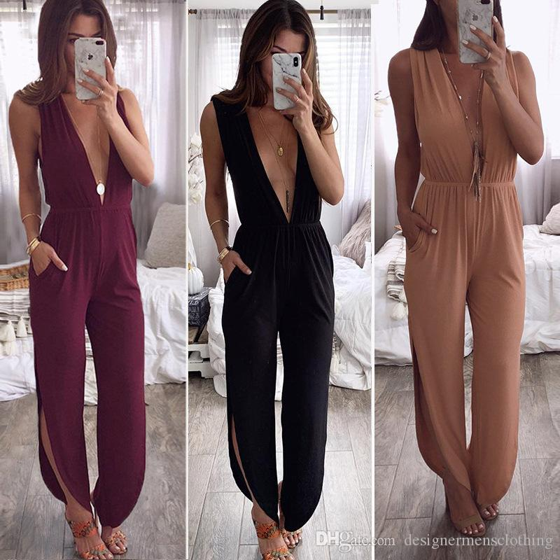 Female Halter Solid Jumpsuits Sexy Deep V-Neck Sleeveless Back Hollow Out Romper Fashion Ladies Capris Apparel