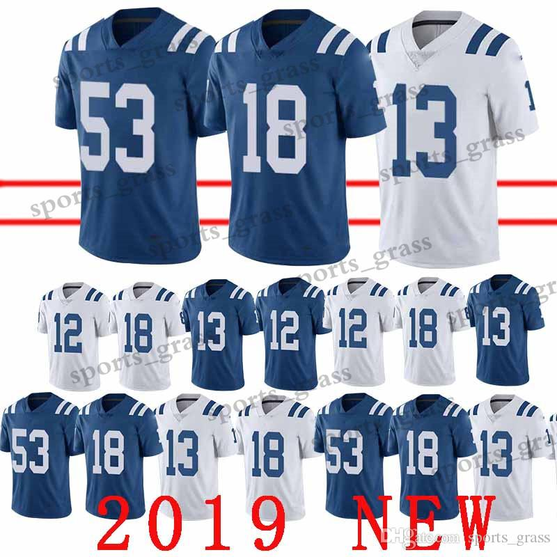 Indianapolis Jerseys 18 Peyton Manning Colts 13 Ty Hilton 53 Darius Leonard  12 Andrew Luck Jersey Men T Shirt 2019 New Promotion UK 2019 From  Sports grass c9222a69f